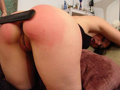 spanking, sinn sage gets strapped bare ass